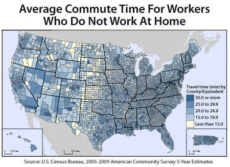 Average Commute Times In The US, By County