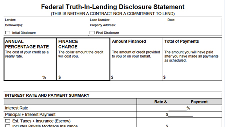Truth-In-Lending snapshot